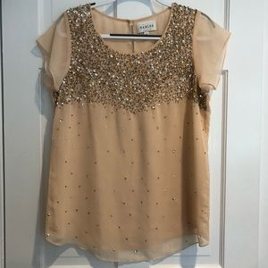 Sabine Pale Pink Beaded Blouse Size Large EUC